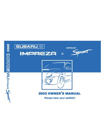 2002 subaru impreza wrx owner s manual pdf 390 pages rh carmanuals2 com subaru impreza owners manual 2017 2012 subaru impreza owner's manual