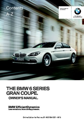 2016 Bmw 650i Gran Coupe Owner S Manual Pdf 255 Pages border=
