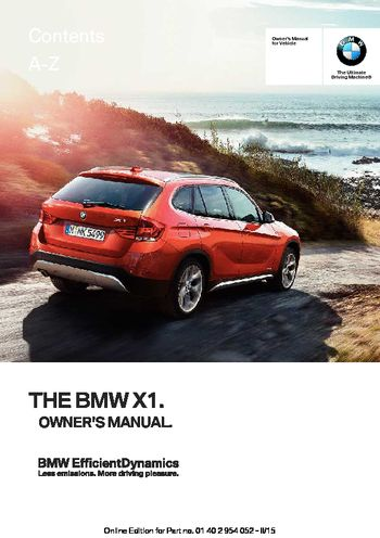 2015 bmw x1 xdrive28i owner s manual pdf 297 pages rh carmanuals2 com bmw x1 owners manual 2014 bmw x1 owner's manual