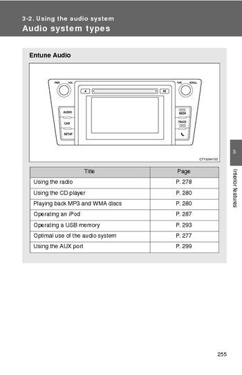 toyota camry   audio system  manual