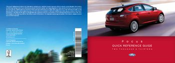 13 2013 Ford Focus Quick Reference Guide owners manual