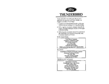 ford thunderbird owners manual   pages