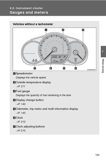 2014 Toyota Yaris  Instrument cluster  PDF Manual 12 Pages