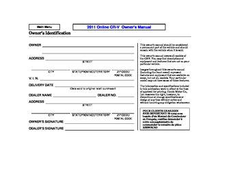 Owner s Manuals & Warranties