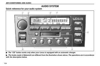 1996 lexus ls400 audio system pdf manual 21 pages. Black Bedroom Furniture Sets. Home Design Ideas