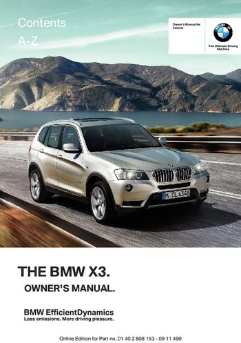 2012 bmw x3 xdrive28i owner s manual pdf 278 pages rh carmanuals2 com 2012 bmw x3 service manual 2015 bmw x3 manual