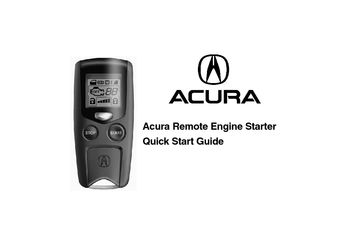2015 Acura RLX - Remote Engine Starter Quick Start Guide - PDF Manual (6 Pages)