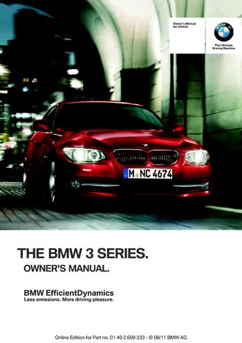 BMW I Coupe Owners Manual PDF Pages - 2012 bmw 328i manual