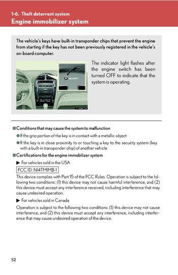 2007 Lexus ES350 - Theft deterrent system - PDF Manual (5 Pages)