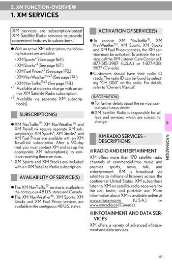 2013 Lexus LS460 - XM FUNCTION-OVERVIEW - PDF Manual (3 Pages)