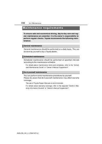 2014 Toyota Avalon Hybrid Maintenance Requirements PDF