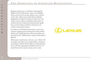 Lexus is300 maintenance schedule