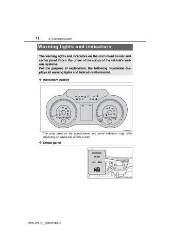 car indicator lights coloring pages | 2013 Toyota Avalon - Warning lights and indicators - PDF ...