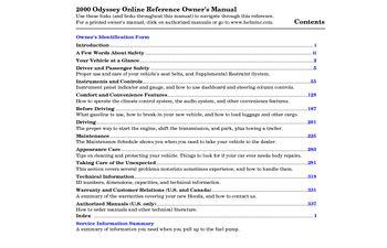 2000 honda odyssey owner s manual pdf 352 pages rh carmanuals2 com Custom Honda Odyssey 2000 honda odyssey owners manual free download