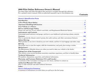 2006 Honda Pilot Owner S Manual Pdf 316 Pages