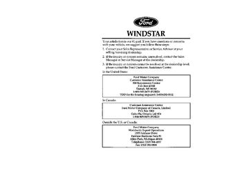 ford windstar owners manual   pages