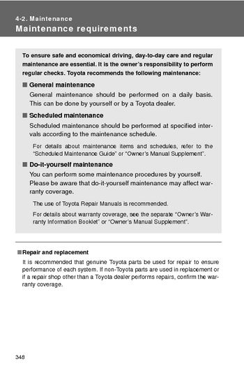 2014 Toyota Camry - Maintenance - PDF Manual (8 Pages)