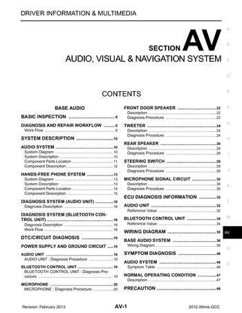 2012 Nissan Altima - Audio Visual System (Section AV) - PDF Manual (436  Pages)Car Manuals