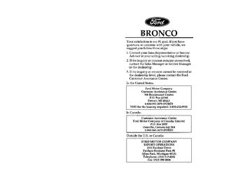 ford bronco owners manual   pages