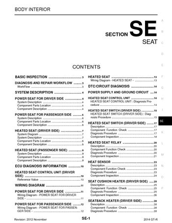 2013 Nissan GT R Seat Section SE PDF Manual 60 Pages