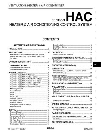 2012 nissan juke - heater & air conditioning control system (section hac)  (140 pages)