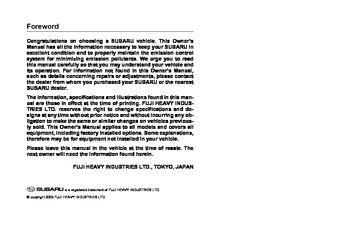 2006 subaru legacy owner s manual pdf 425 pages rh carmanuals2 com 2011 Subaru Legacy Manual 2014 subaru legacy owners manual