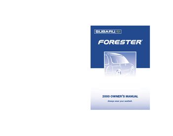 2000 Subaru Forester Owner S Manual Pdf 322 Pages