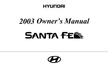Santa Fe 2003 Owner S Manual 33537 on alfa romeo all models