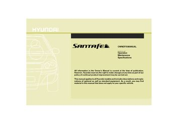 2009 Hyundai Santa Fe Owner S Manual Pdf 353 Pages