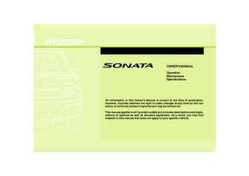 hyundai sonata 2010 owners manual