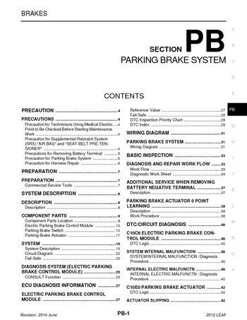 2012 Nissan Leaf - Parking Brake System (Section PB) - PDF