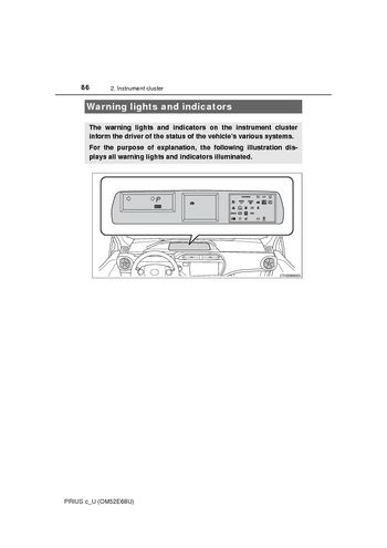 2017 Toyota Prius C Warning Lights And Indicators 31 Pages