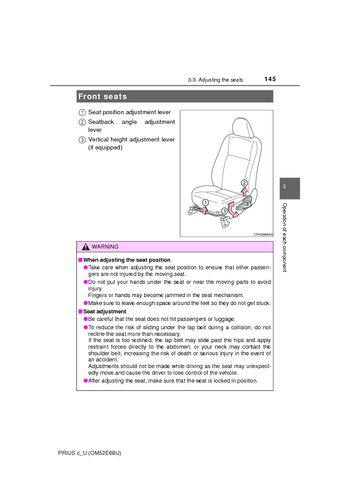 2015 Toyota Prius C Front Seats Pdf Manual 8 Pages