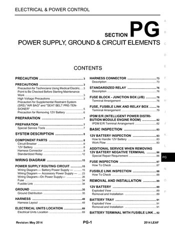 [DIAGRAM_1JK]  2014 Nissan Leaf - Power Supply, Ground & Circuit Elements (Section PG) -  PDF Manual (94 Pages) | 2015 Nissan Leaf Wiring Diagram |  | Car Manuals