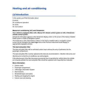 2013 Volkswagen Passat - Heating and air conditioning - PDF