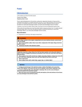 2014 Volkswagen Passat - Fuses - PDF Manual (5 Pages)