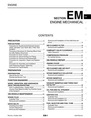 2009 Nissan Maxima - Engine Mechanical (Section EM) - PDF
