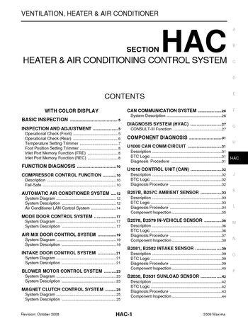 2009 nissan maxima - heater & air conditioning control system (section hac)  (238 pages)