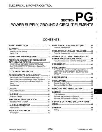 2014 Nissan Maxima - Power Supply, Ground & Circuit Elements (Section PG) -  PDF Manual (69 Pages) | 2014 Nissan Maxima Fuse Box Diagram |  | CarManuals2.com