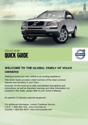 2011 volvo xc90 quick guide pdf manual 8 pages rh carmanuals2 com Volvo XC70 Volvo XC70