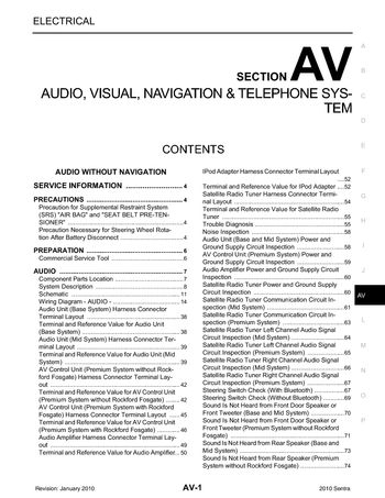 2010 Nissan Sentra - Audio Visual System (Section AV) - PDF Manual (187  Pages)Car Manuals