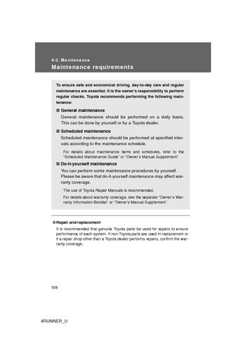 2012 Toyota 4Runner   Maintenance (8 Pages)