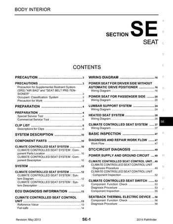 2014 nissan pathfinder - seat (section se) (135 pages)