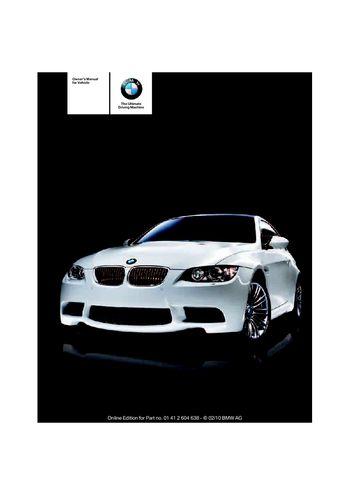 2011 bmw m3 coupe owner s manual pdf 278 pages rh carmanuals2 com e92 m3 service manual e92 m3 user manual