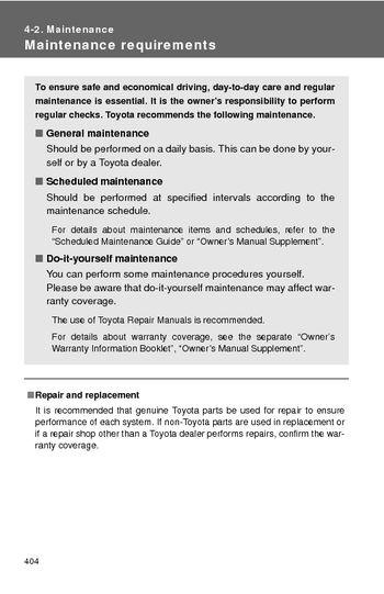 2008 Toyota Highlander Maintenance 6 Pages