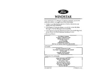 Service owner manual 1996 ford windstar wiring diagram data.