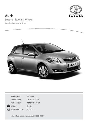 2006 toyota auris leather steering wheel pdf manual 12 pages. Black Bedroom Furniture Sets. Home Design Ideas