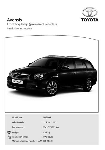 toyota avensis user manual pdf