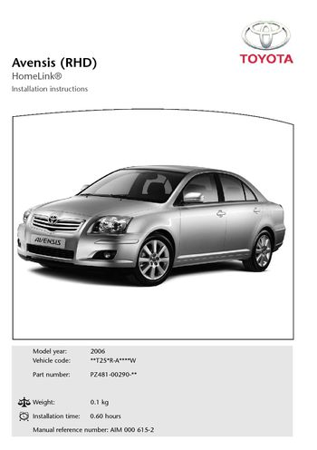 download 2006 toyota avensis homelink rhd pdf manual  22 pages toyota avensis 2006 repair manual toyota avensis 2006 service manual