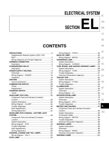 2000 nissan quest electrical system section el pdf manual 312 pages 2000 nissan quest electrical system